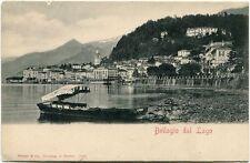 Primi '900 Bellagio lago Como barca riva monti città case palazzi FP B/N ANIM