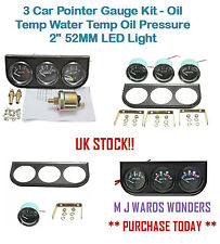 "3 Car Pointer Gauge Kit - Oil Temp Water Temp Oil Pressure 2"" 52MM LED Light"