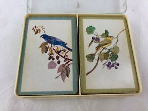 VINTAGE PLAYING CARD DECKS - SET OF TWO WITH BIRDS IN PLASTIC BOX - AUSTRALIA