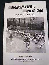 Vintage Manchester - Rhyl - Manchester 200 Cycling Program 1975 Paul Sherwin