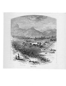 Virginia view > Peaks of Otter <  Blue Ridge Mtns   Engraved 1874 print Genuine