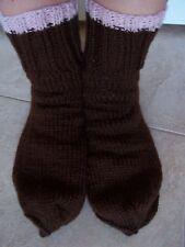 Hand knitted 100% wool socks, brown, men's or women's