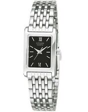 719614402ccff Ladies Citizen Quartz Classic Black Dial Stainless Square Watch EJ5850-57E