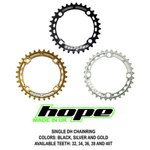 Hope Single DH Downhill Chain Ring 30 32 34 36 38 40T - Black Gold Silver - New