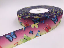 1 Yard 1'' 25MM Color butterfly Printed Grosgrain Ribbon Hair Bow Sewing Ribbon