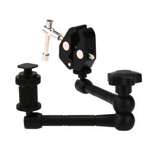 "11"" Inch articulating magic arm + super clamp crab plier clip for camera B Dk"
