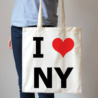 I Love Newyork City Heart NY America Travel Shopping Cotton Canvas Tote Bag T159