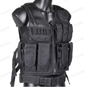 Law Enforcement SWAT Police Tactical Military VEST Combat Pistol Black Gun US