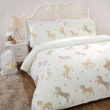 Sleepdown Foil Fleece Flannel Unicorn Ivory Stars Reversible Soft Duvet Cover
