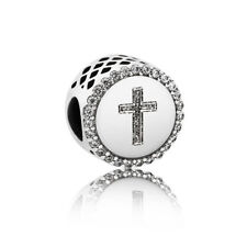S925 Sterling Silver EURO Symbol of Faith Cross Charm by Pandora's Angels