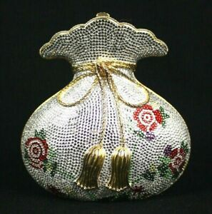 JUDITH LEIBER Multi-Color Floral Crystal MISERS POUCH Minaudiere Bag