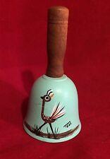 Tesa Southwestern Design Bell Roadrunner Bird Ceramic Pottery Wood Handle Chime