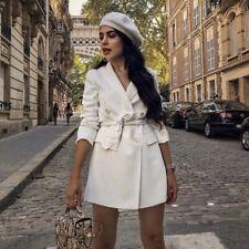 Zara New White Slef belted Long double breasted blazer dress XS S M L