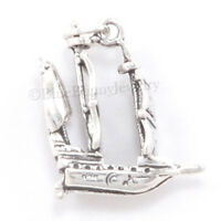 3D PIRATE SHIP Sail Boat Solid .925 Sterling Silver Jewelry Pendant 925 Charm
