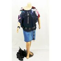 AUTOGRAPH Navy Flutter Sleeve Floral/Pattern Kimono Summer Top | Plus Size: 18