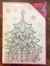 """DIY Coloring Christmas Tree Cards 12 Cards & Envelopes 5"""" x 7"""" New"""