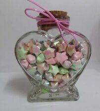 "Origami Lucky Star 4.25"" Love Heart Shape Glass Bottle"
