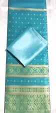 Teal wedding Rayon Silk Fabric Synthetic Thai Tradition dress 2pcs