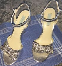 Blue By Betsey Johnson Dress Wedges Size 8.5 Metallic Silver Rhinestone Bow EUC