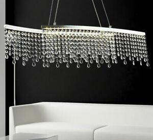 Kristall LED Hänge Pendel Decken Kron Lampe Leuchte r Lüster Ess Tisch Warm Weiß