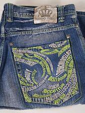 Ricco Tizio Rich Guy Denim Shorts Sz 40 Blue Embroidery Embellished Rap Hip Hop