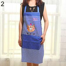 Cartoon Bear Striped Apron Blue