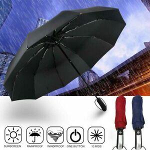 Automatik Regenschirm XXL Partnerschirm groß sturmsicher Taschenschirm mit Etui