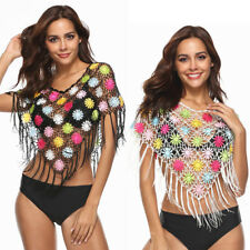 Ladies Summer Boho Hollow Out Fishnet Crop Tops Floral Tassel Cover Up Cape