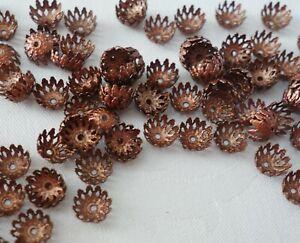 50 Antique Red Copper Coloured 8mm x 3mm Filigree Bead Caps bc3927 Beading Craft