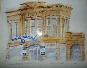 Fulham Broadway Station, 1977.  Bruce Rowling Watercolour Listed