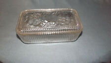Federal Glass Vintage Clear Glass Refrigerator Dish Box with Embossed Fruit Lid