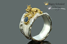 """Goldschmiede Froschring, Silber mit Teilvergoldung """"to be crowned king""""  Frosch"""