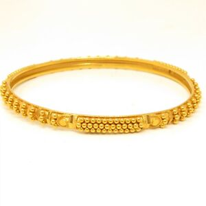"NYJEWEL 22k Yellow Gold Indian Style 5mm Wide Bangle Bracelet Inner 7.5"" 13.2g"