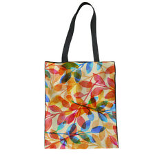 Ladies Canvas Tote Daily Shopping Bag Multi Leaf Print Book Handbags for Girl