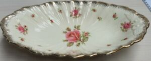 Vintage A G Richardson Crown Ducal Roses Oval Dish with Gilt Trim c1930s 28.5x17