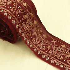 Vintage saree Border Indian Embroidered Used Maroon Sari Sewing Wrap 1YD Trim