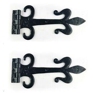 """Fleur De Lys Cast Iron Black Antique Tee Hinge 12"""" 30cm Traditional Heavy Duty"""