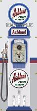 Ashland Gasoline Tokheim Gas Pump Clockface Banner Sign Mural Garage Art 2' X 6'