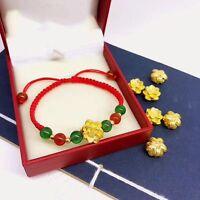 Real 999 24k Yellow Gold 3D Lucky Lotus Flower Pendant Weave Bracelet 1-1.3g