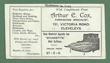 C1930'S ADVERTISING BLOTTER ARTHUR E. COX, FURNISHER OF VICTORIA RD, CLEVELEYS