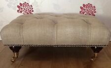 A Quality Deep Buttoned Footstool In Laura Ashley Dalton Natural Fabric