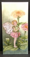 """Hand Painted Tile Art 12.25"""" x 6"""" Fairy Pixie Flowers Signed Wall Decoration T80"""
