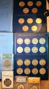 1916-1947 WALKING LIBERTY HALF 65 COIN OUTSTANDING COMPLETE SET SOME CERTIFIED#5