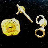 Chicago Police Pinback with Additional Gold Tone Handcuff and Billy Club Pins
