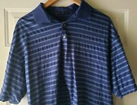 Nike Tiger Woods Blue Striped Golf Polo Shirt Cotton Mens Size Large L