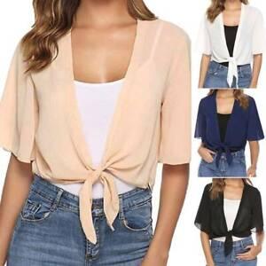 Womens Tie Up Open Front Shrug Chiffon Cropped Bolero Summer Short Cardigan Tops