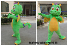 Adults Green Dragon Mascot Costume Cartoon Cosplay Party Fancy Dress Suit Parade