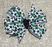 3inches wide soccer Pin Wheel hair bows girl alligator clip birthday sports