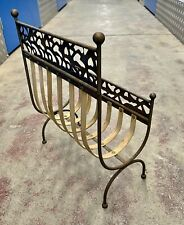 Ornate Mid c20th Wrought Iron And Wood Fireplace Log Rack