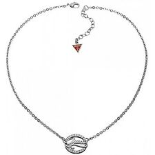 Guess Silver Logo Link Zirconia Crystal Pendant & Chain*Gift Boxed*Brand New